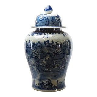 Chinoiserie Grand Blue and White Porcelain Decorative Jar