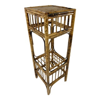 Tall Burnt Bamboo Plant Stand For Sale