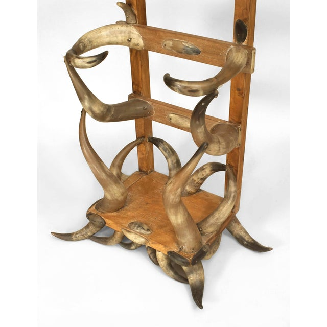 Rustic American Victorian Steer Horn and Stripped Pine Hatrack/Umbrella Stand For Sale - Image 3 of 4