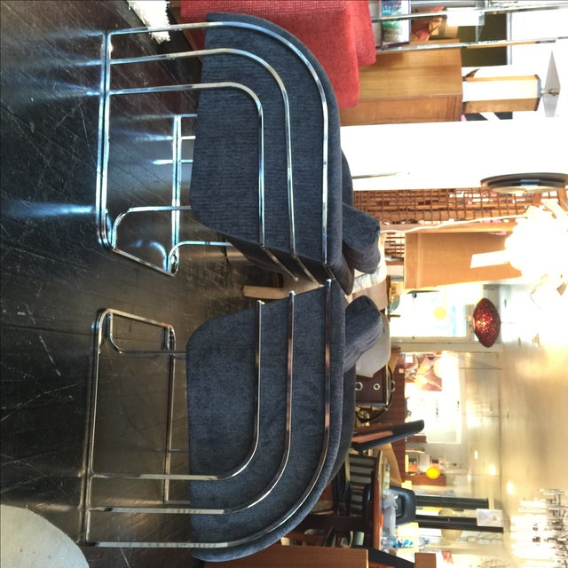 Milo Baughman Chrome Reupholstered Club Chairs - 2 For Sale - Image 7 of 10