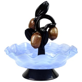 Murano Antique Blue Bowl Black Leafs Aventurine Fruit Italian Art Deco Glass Sculpture For Sale