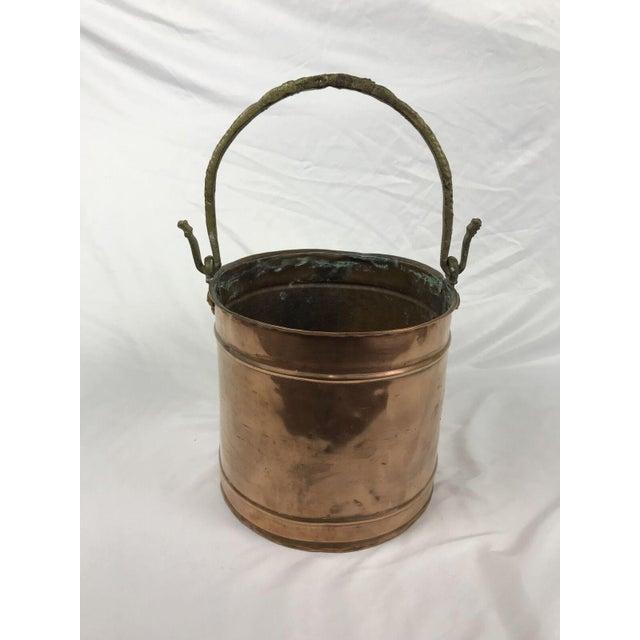 Metal Vintage Rustic Primitive Country Copper Pail Bucket Cast Bronze Handle For Sale - Image 7 of 7