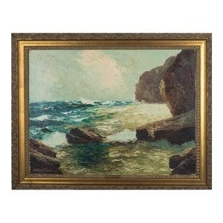 """German """"Isle of Capri"""" Oil on Canvas Painting"""