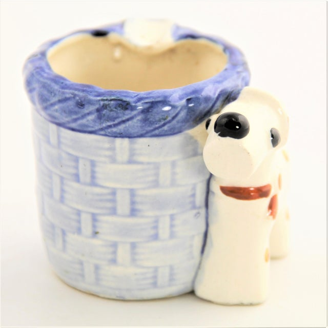 Japanese Vintage Occupied Japan Spotted Block Dog Majolica Ashtray For Sale - Image 3 of 5