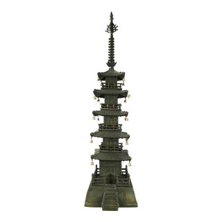 Antique Large Metal Pagoda Sculpture Hollywood Regency James Mont Style