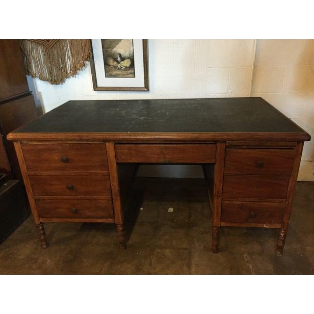 Arts & Crafts Slate-Top Wood Desk For Sale - Image 10 of 11