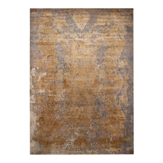 Rug & Kilim's Modern Beige-Gold and Gray Wool and Silk Rug For Sale