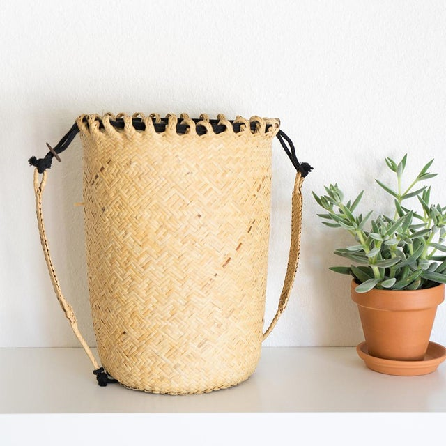 Boho Chic Rattan Woven Basket For Sale - Image 3 of 4