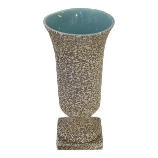 Vintage Mid-Century Pebbled Glaze Beige Vase For Sale