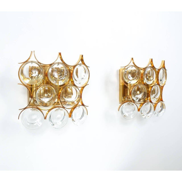 Pair of Gilded Brass and Crystal Sconces by Palwa For Sale - Image 6 of 7