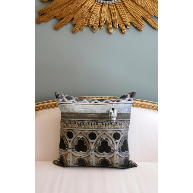 Canvas Architecture Notre Dame Exterior Photo Pillow For Sale - Image 7 of 12