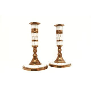 Vintage Brass & Mother of Pearl Candle Holders - Set of 2 Preview
