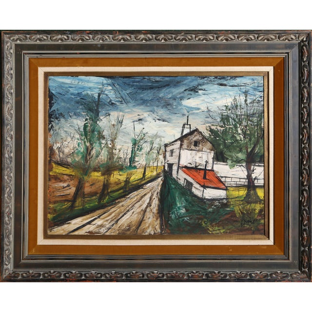 Modern Charles Levier, Farmhouse, Oil on Board, Signed l.r. For Sale - Image 3 of 3