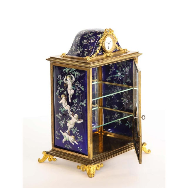 French Bronze and Limoges Enamel Jewelry Vitrine Cabinet with Clock For Sale - Image 12 of 13