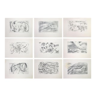 """1920 Franz Marc Edition """"Sketches From the Field"""" Cubist Animal Prints - Set of 9 For Sale"""