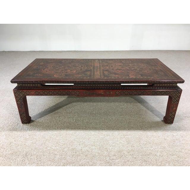 A rare and incredibly beautiful Chinoiserie coffee table designed by Mario Buatta for John Widdicomb circa 1960 having...
