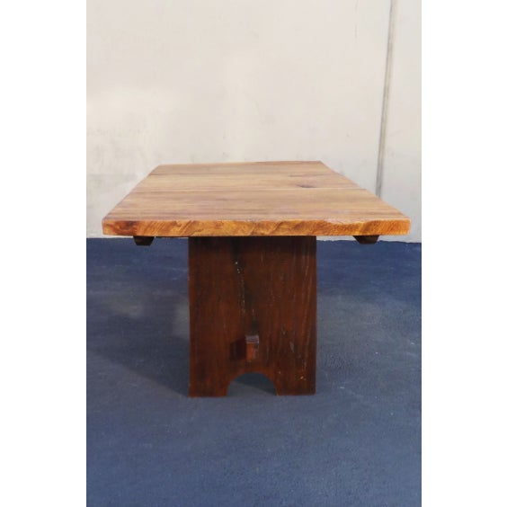 Contemporary Rustic Mission Wood Slab Dining Table Desk For Sale - Image 3 of 7