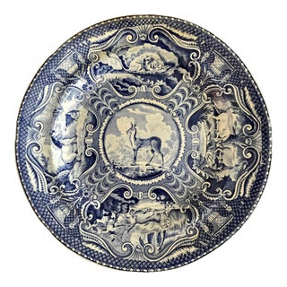 Early 19th Century English Staffordshire Blue Transferware Quadrupeds Dinner Plate For Sale