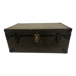 Vintage Industrial Wood Military Foot Locker Trunk With Tray For Sale