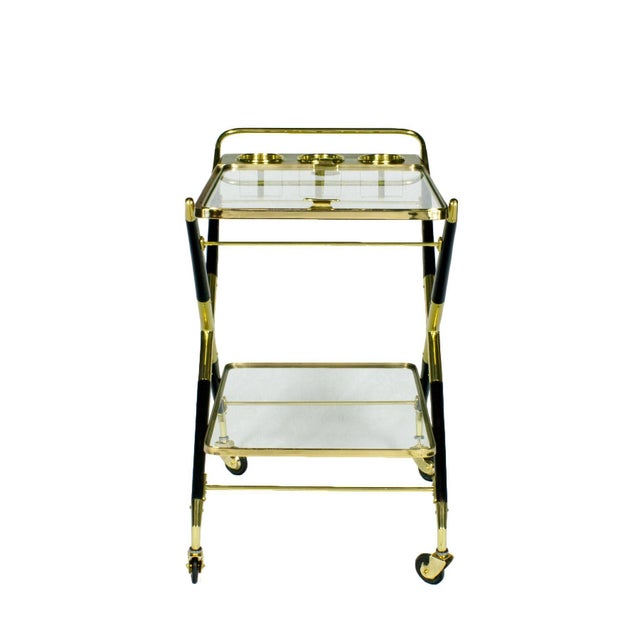 Mid-Century Modern 1950s Bar Cart with Tray by Cesare Lacca, Beech, Brass and Glass, Italy For Sale - Image 3 of 11