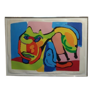 "Mid Century Lithograph ""Abstract Cat"" by Karel Appel For Sale"