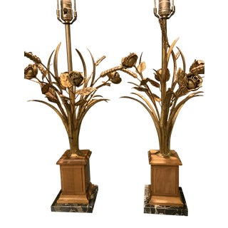 Frederick Cooper Gilt and Marble Sheaf of Wheat Table Lamps - a Pair For Sale