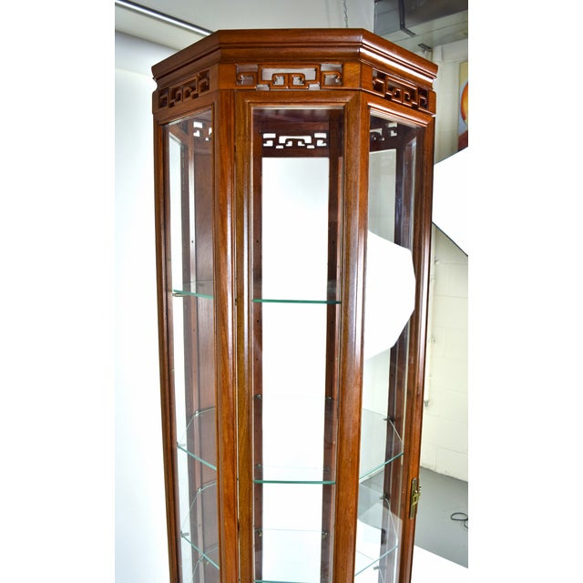 Vintage Asian Rosewood Octagonal Curio China Cabinet For Sale - Image 9 of 12