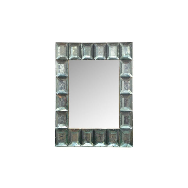 Art Deco Faceted Murano Glass Mirror in Sea Green For Sale - Image 3 of 6