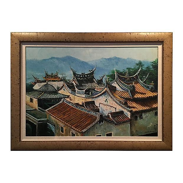 Pagoda Rooftop Landscape Oil Painting With Larson Juhl Frame | Chairish