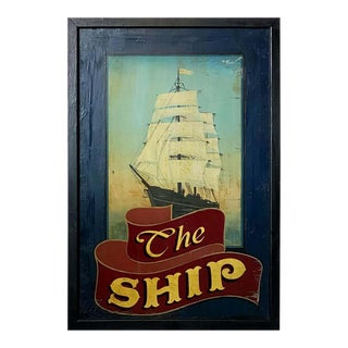 "Vintage English Pub Sign, ""The Ship"" For Sale"