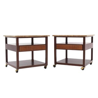 Pair of Marble-Top Single Drawer End Table by Harvey Probber For Sale