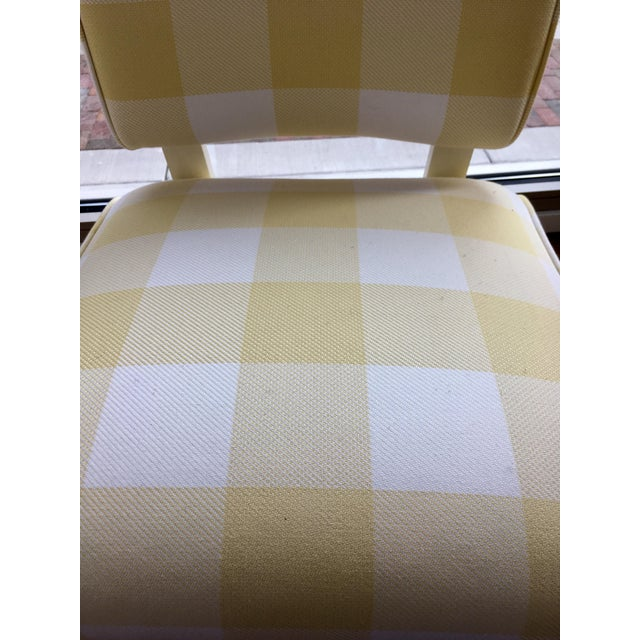 Mid-Century Yellow & White Gingham Chair - Image 6 of 6