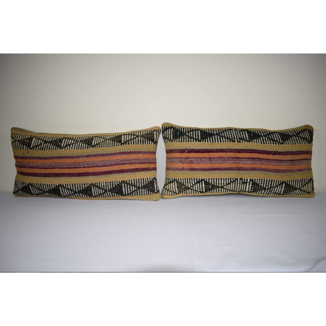Pair Anatolian Wool Cushion Cover From Anatolian, Ethnic Turkish Decor, Lumbar Kilim Pillow Cover 12'' X 24'' (30 X 60 Cm) For Sale In Dallas - Image 6 of 6