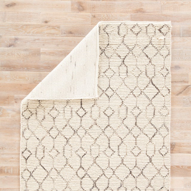 Nikki Chu by Jaipur Living Leda Natural Trellis White & Gray Area Rug - 8' X 10' For Sale - Image 4 of 6
