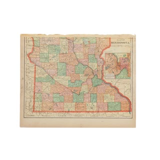 Cram's 1907 Map of Minnesota For Sale