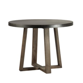 Round Stone & Oak Table For Sale