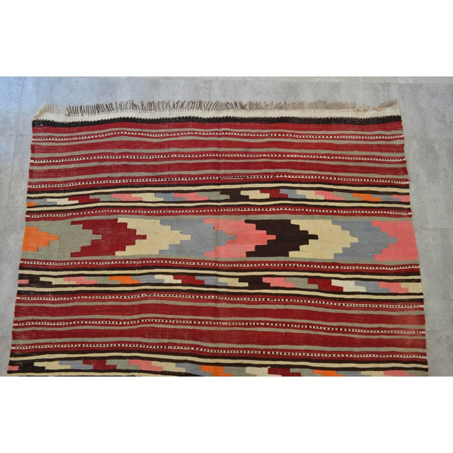 Antique Turkish Kilim Hand Woven Wool Large Runner Rug - 6′5″ × 13′8″ - Image 6 of 10