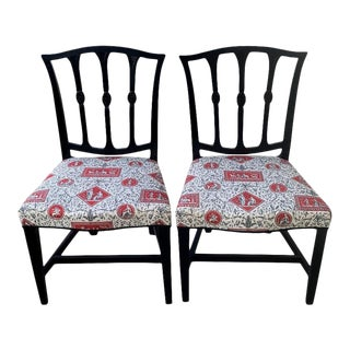 Pair French Regency Black/Red Toile Chairs For Sale
