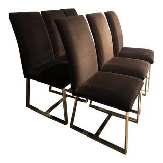 Milo Baughman Style Velvet and Brass Dining Chairs - Set of 6 For Sale