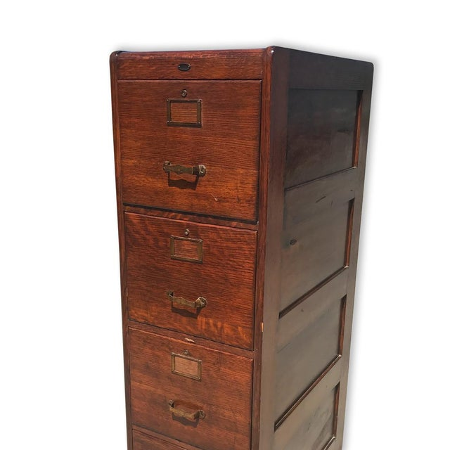 Mission Antique Mission Oak 4 Drawer Office Library File Cabinet For Sale - Image 3 of 8