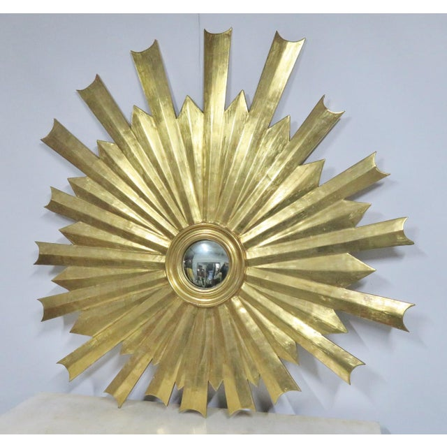 Hollywood Regency Gold Gilt Sunburst Carved Mirror For Sale In Philadelphia - Image 6 of 6