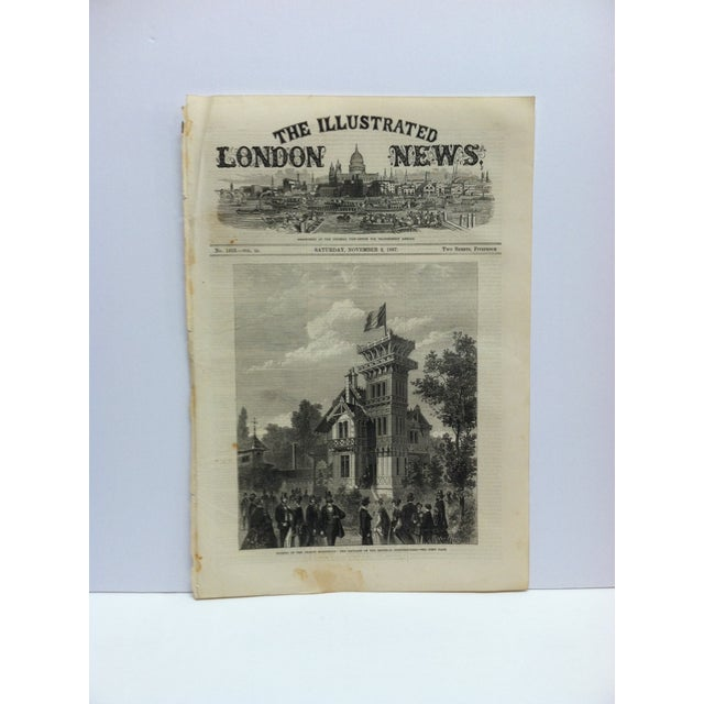 "Mid 19th Century 1867 Antique ""Closing of the French Exhibition: The Pavilion of the Imperial Commissioners"" The Illustrated London News Print For Sale - Image 5 of 5"