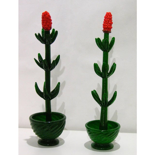 A whimsical Italian pair of flower plants in pots, exquisite quality of the blown Murano glass and detailing of organic...