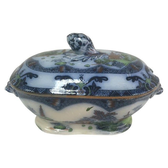 Spode Flow Blue & Polychrome Sauce Tureen - Image 1 of 9