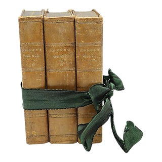1824 English Leather Bound Books - Set of 3