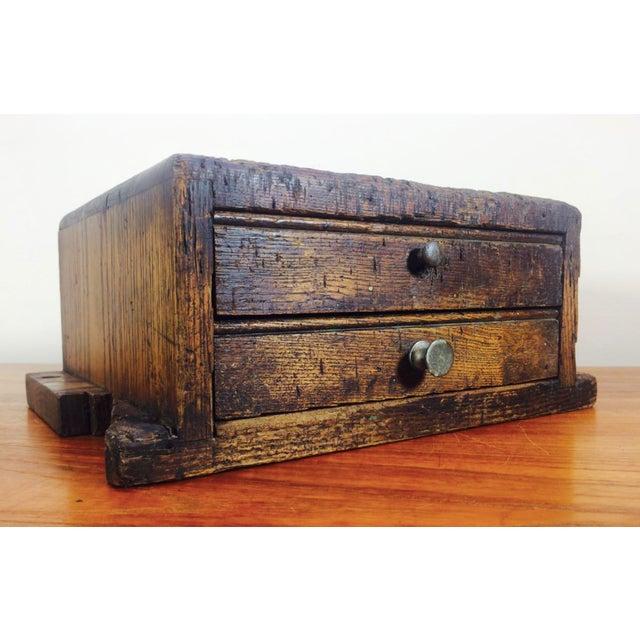 1930's Primitive LockSmith Wood 2 Drawer Cabinet For Sale - Image 6 of 6