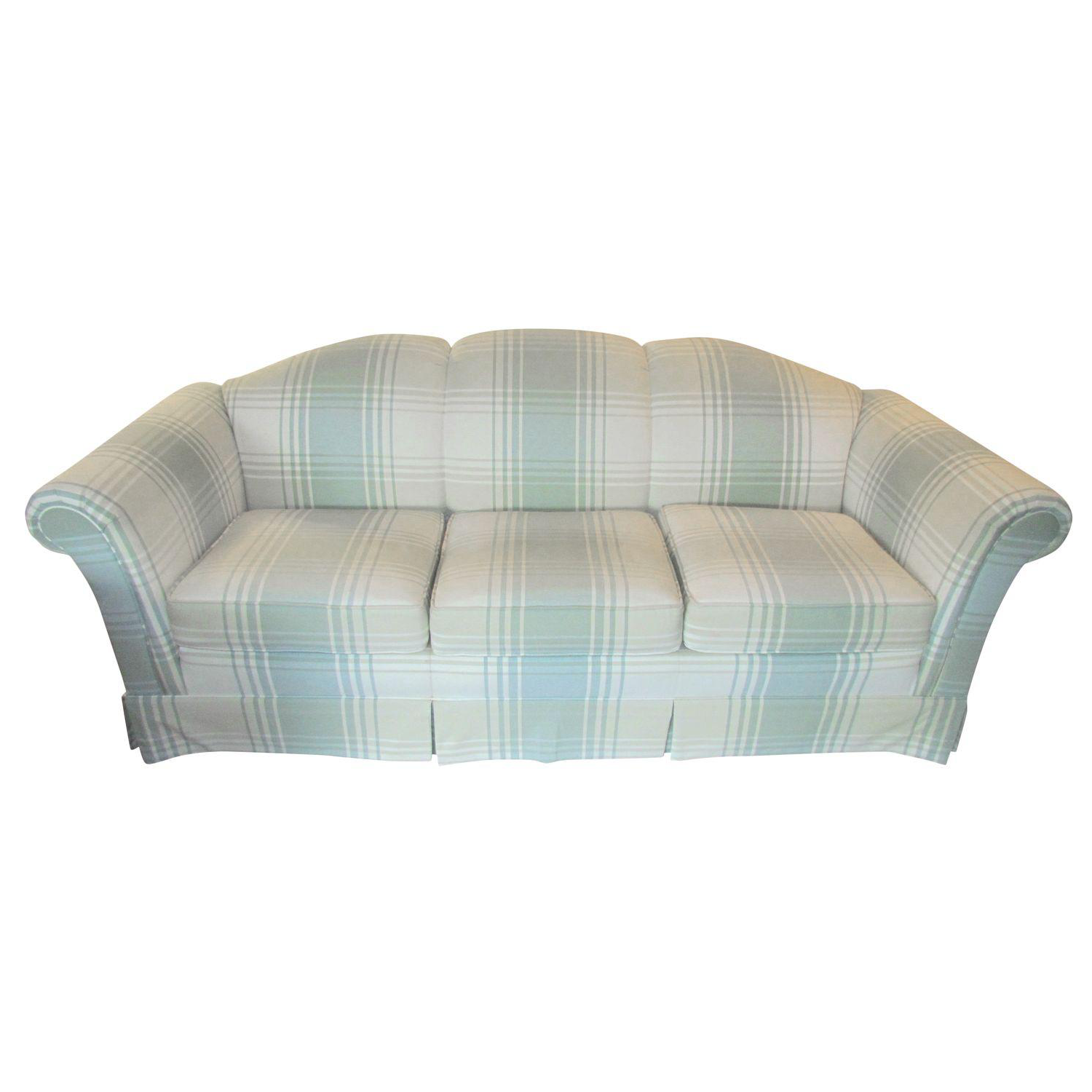Clayton Marcus Plaid Sofa With Slipcover