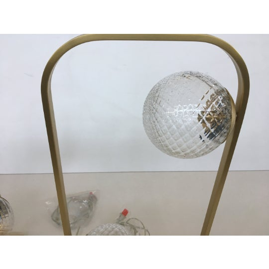 Murano Lot of 2 Vintage Style Table Lamp in Brushled Gold and Murano Glass Balls For Sale - Image 4 of 6