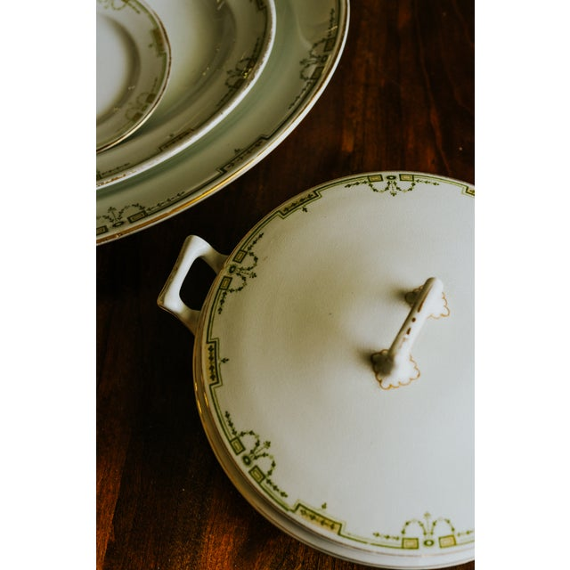 Riviera Serving Dishes with Green, White and Gold garland swag. Set includes Round covered oval serving dish, Large Oval...