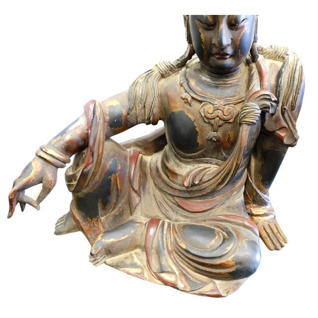 Distressed Golden Black Wood Kwan Yin Statue - Image 5 of 10